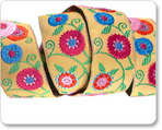 "7/8"" Floral Suzani in Mustard -By Laura Foster Nicholson"