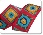 "1-1/2"" Multi on Red Fun Square by Laura Foster Nicholson"