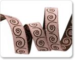 """3/8"""" Mini Scrolls Brown & Blush Reversible by Nancy Zieman"""