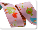 "7/8"" Pink Happy Birds - Dena Designs"