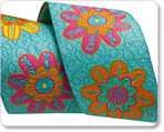 "1-1/2"" Flowers on Turquoise - Sue Spargo"