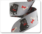 "7/8"" Black pug on grey by Jessica Jones"