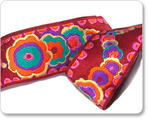 "1-1/2"" Green/Red/Purple  Kite Tail    - Kaffe Fassett"