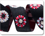 "5/8""-Black/Red Flowers"
