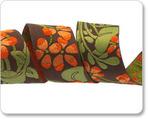 """1-1/2""""-Orange Flower on Brown"""