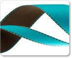 """1"""" Reversible Satin ribbon- Turquoise & Brown"""
