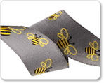 "7/8"" Bees on Gray - Sue Spargo"
