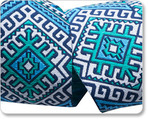"1-1/2"" Blue & White Camel Blanket - Hapi by Amy Butler"