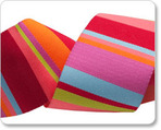 "1-1/2"" Wide Lime & Coral Roman Stripes - Kaffe Fassett"