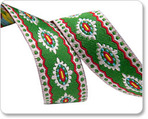 """5/8"""" Scalloped & Dotted Edge Holiday Motif on Green"""