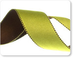 "1"" Reversible Satin ribbon- Pistachio & Brown"