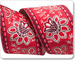 "1-1/2"" Flowers on Red - French General"