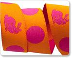 "5/8"" Pink on Orange Bunnies & Dots - Tula Pink"