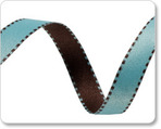 "3/8"" Reversible Satin ribbon- Aqua & Brown"