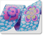 "7/8"" Guinea Flower on Aqua/White   - Kaffe Fassett"