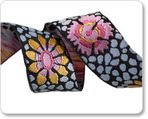 "7/8"" Pink, Yellow & Black  Guinea Flower   - Kaffe Fassett"