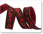 "3/8"" Mini Dots Red & Brown Reversible by Nancy Zieman"