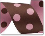"1-1/2"" Polka Dots - Pink & Brown"