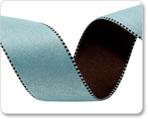"""1"""" Reversible Satin ribbon- Aqua & Brown"""