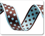 "3/4""Polka Dots - Aqua/Brown"