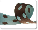 "1-1/2"" Polka Dots - Aqua & Brown"