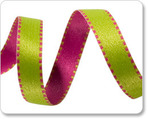 "3/8"" Reversible Satin ribbon- Pink & Green"