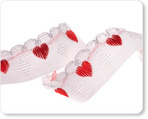 "5/8"" Red Cute Hearts on White"