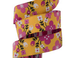 5/8'-Pink Spring Floral on yellow- Jessica Jones