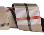 "1 1/2""- Tan Woven Plaid by RR"