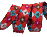 "3/8""- Argyle and stars on red- mini by Jessica Jones"