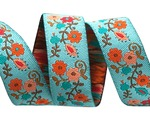 "5/8""-Orange on Turquoise Mini Suzani Floral - LFNT"