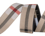 "5/8""- Tan Woven Plaid by RR"