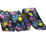"5/8""-Purple on black Mini Suzani Floral - LFNT"