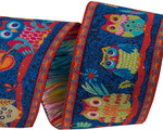 "1 1/2"" Wide Forest Owls on Midnight Blue"
