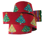 "7/8"" Christmas Tree on red - By Laura Foster Nicholson"
