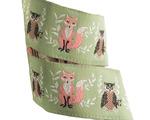 "7/8"" Coral Fox & Brown Owl on pistachio - Bonnie Christine"