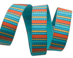 "3/8""Turquoise/Orange Mini Stripes"