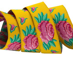 "5/8"" Spanish rose on yellow- Kaffe Fassett"