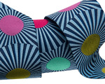 """Wide Navy Blue stripes and dots 1 1/2"""" by the yard"""