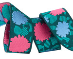 """7/8"""" Coral & Blue Simply Bold Floral 7/8"""" - Splendor by Amy Butler"""