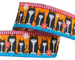 "7/8"" Black cats on orange"
