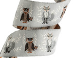 "7/8"" Brown and  Grey Fox and Owl - Bonnie Christine"