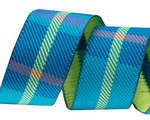 "7/8""- Turquoise Woven Plaid by RR"