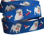 "7/8"" Fawn pug on dark blue by Jessica Jones"