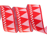 "5/8""- Red triangles with checkerboard edge by Jane Sassaman"