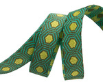 "Tiny Yellow Tortoise dots on Green 3/8"" by the yard"