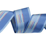 "1 1/2'""  Vintage French  woven ribbon embroidered Blue"