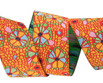 "7/8"" Mosaic Floral on orange"