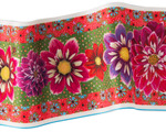 "Red, purple and pink Dahlias on green & Orange 6.5"" wide"
