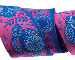 """Animal Grandstand pink and blue 1 1/2"""" by the yard"""